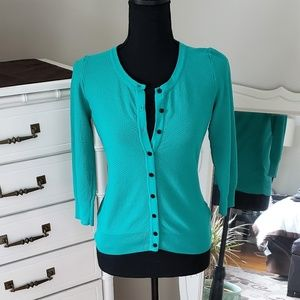 H&M waffle weave green cardigan (S)